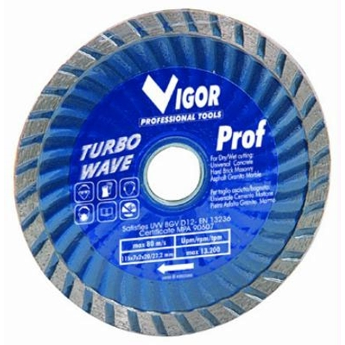Disco diamantato Vigor Turbo Wave Blu d.115mm