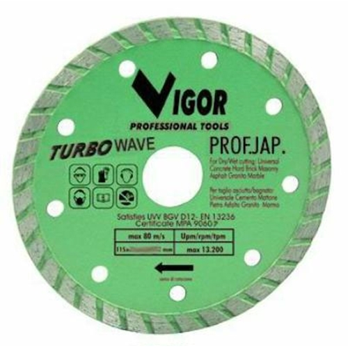Disco diamantato Vigor Turbo Ultraslim Jap Verde d.115mm